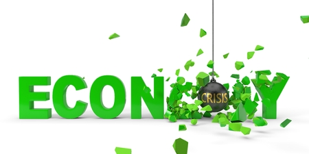crisis named wrecking ball is breaking green economy word. 3d illustration Stock Photo