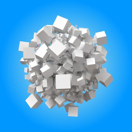 spherical pile of random cubes