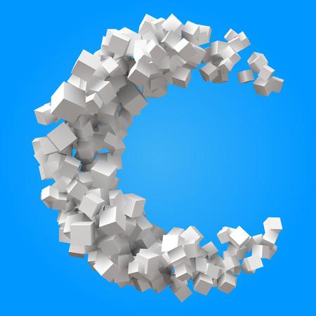 half moon formed by random cubes Illustration