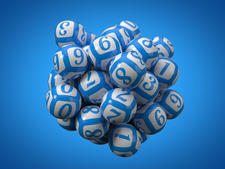 lottery balls stack. 3d illustration. suitable for gamble, luck and lottery themes.