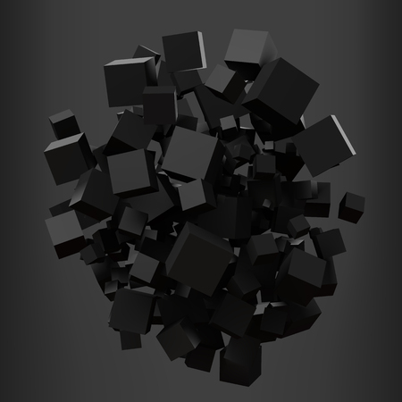 elegant black cubes. 3d style vector illustration. Иллюстрация