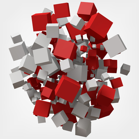 white and red cubes. 3d style vector illustration.