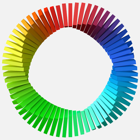 circulary arranged colorful shapes. 3d style  illustration