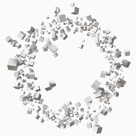 different size white cubes in circular orbit. 3d style   illustration