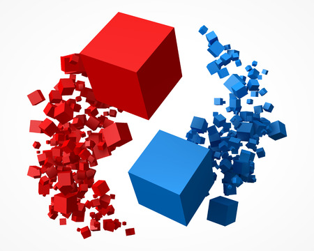 flock of red and blue cubes, rotating around each other.