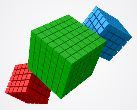 Cube of cubes, triple version. 3d style vector illustration Illustration