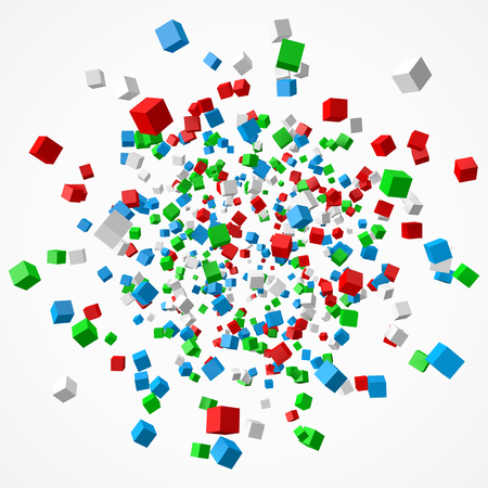 Group of colorful cubes, 3d style vector illustration