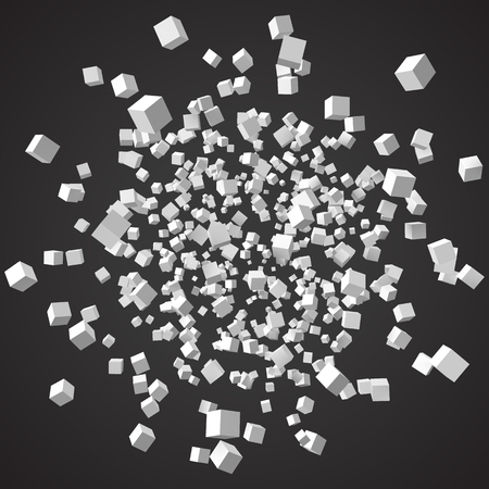 Group of cubes, 3d style vector illustration