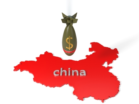 economy and trade wars concept with dollar currency bomb and china country map. 3d illustration Archivio Fotografico - 104654209