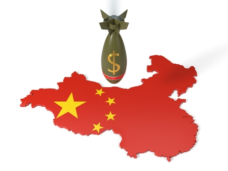 economy and trade wars concept with dollar currency bomb and china country map. 3d illustration Archivio Fotografico - 104654214