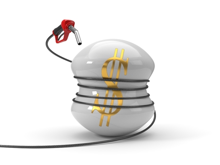 red fuel nozzle squeezing dollar symbol. 3d illustration Stock Photo