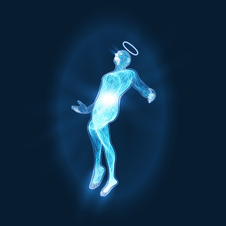 energy of the angelic artificial intelligence. blue version. suitable for any technology, future, ai and religion themes. Imagens - 115044239