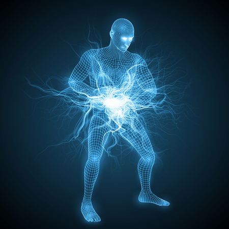 faire une boule d'énergie spirituelle de tai-chi. collecter l'énergie de la nature entre les mains. l'énergie spirituelle rayonne à l'intérieur de la tête et du torse. version bleue. adapté à tous les thèmes technologiques, futurs et IA.