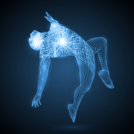 energy of the dancing man. spiritual energy beams inside head and torso. blue version. suitable for any technology, future and ai themes.