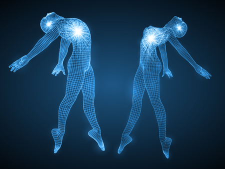 energy of the dancing man and woman. spiritual energy beams inside head and torso. blue version. suitable for any technology, future and ai themes.