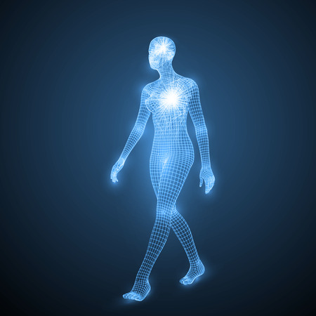 energy of the walking woman. spiritual energy beams inside head and torso. blue version. suitable for any technology, future and ai themes.