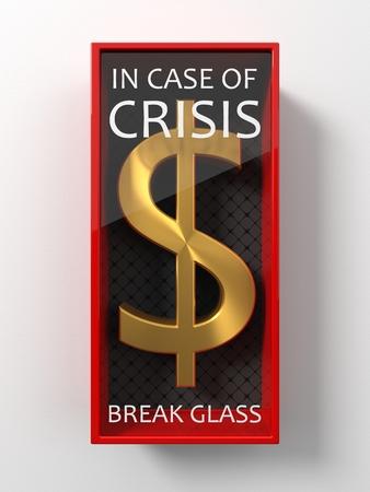 golden dollar sign for usage in case of crisis, 3d illustration