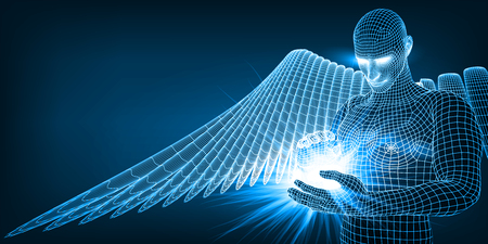 the angel of artificial intelligence keeping in hands future of humanity. blue version. suitable for any technology, future, ai and religion themes. Vettoriali