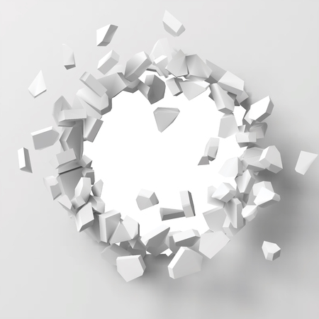 vector illustration of exploding wall with free area on center for any object or background. suitable for any logo, object or background revealing situation for banner, ad or other way usages. Ilustração