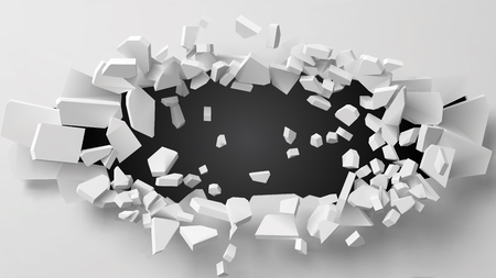 vector illustration of exploding wall with free area on center for any object or background. suitable for any logo, object or background revealing situation for banner, ad or other way usages. Stock Illustratie
