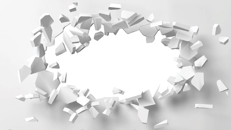 illustration of exploding wall with free area on center for any object or background