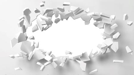 Vektorillustration der explodierenden Wand mit freiem Bereich in der Mitte für jedes Objekt oder Hintergrund. Geeignet für jedes Logo, Objekt oder jeden Hintergrund, das eine Situation für Banner-, Anzeigen- oder andere Verwendungszwecke aufzeigt.