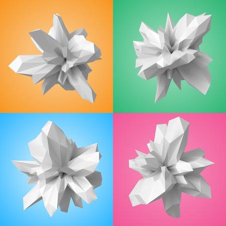3d style shapes set.