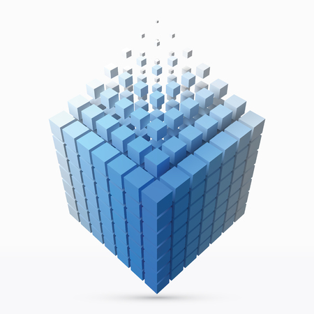 big cube scructure dissolving to small cubes. 3d style vector illustration.  イラスト・ベクター素材