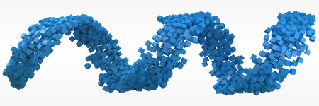 blue cubes flow. 3d style vector illustration. Illustration