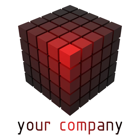 3d style design with cubes. elegant black and red colors version.