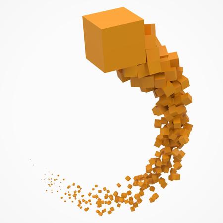 slag van kubussen die door de lucht bewegen. 3D-stijl vector illustratie Vector Illustratie