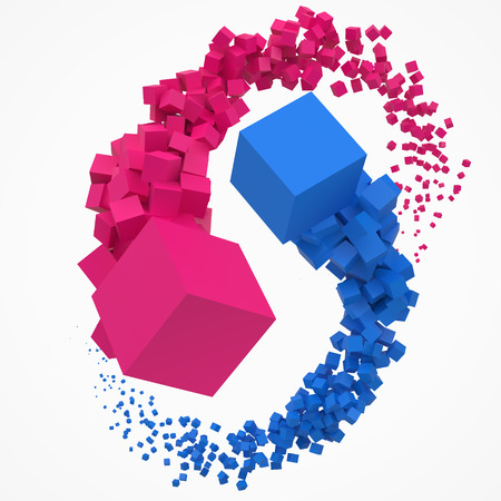 concept of duality. balance and harmony between two themes. cubes moving on air. 3d style vector illustration Ilustração