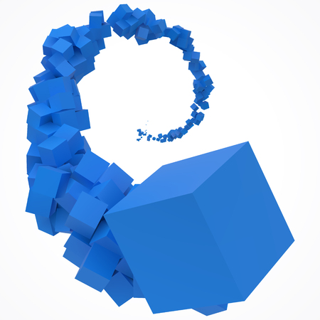 stroke of blue cubes moving on air.