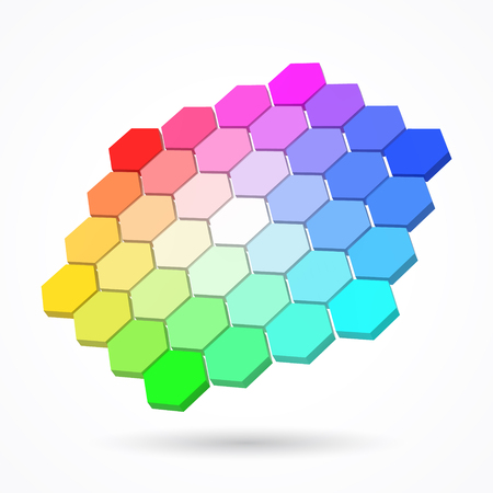 hexagonal color palette with small color hexagons. color theory concept. 3d style vector illustration. big hexagons version. suitable for any banner, ad, technology and abstract themes.