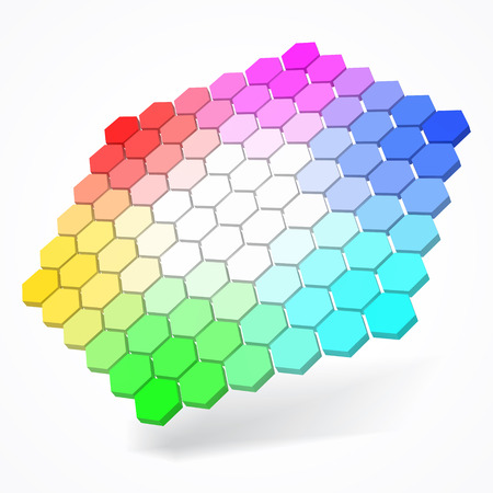 hexagonal color palette with small color hexagons. color theory concept. 3d style vector illustration. suitable for any banner, ad, technology and abstract themes.