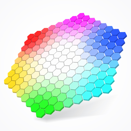 hexagonal color palette with small color hexagons. color theory concept. 3d style vector illustration. extra small hexagons version. suitable for any banner, ad, technology and abstract themes.