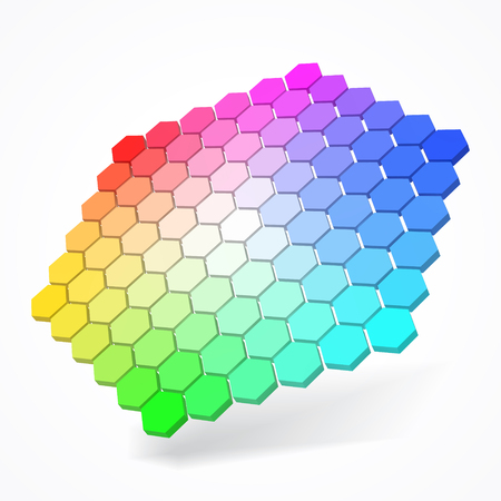hexagonal color palette with small color hexagons. color theory concept. 3d style vector illustration. smooth color grade version. suitable for any banner, ad, technology and abstract themes. Illustration