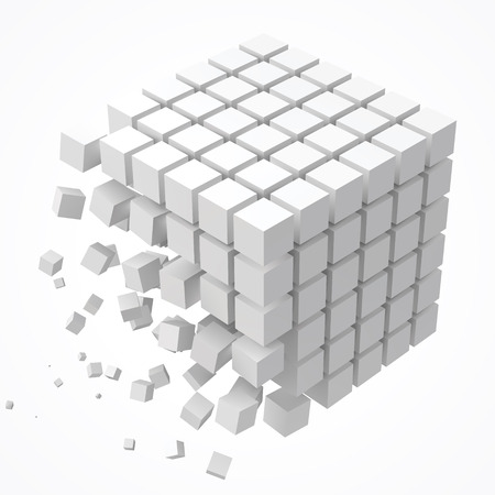 small cubes forming a big cube. blockchain and big data cncept. 3D style vector illustration. Illustration