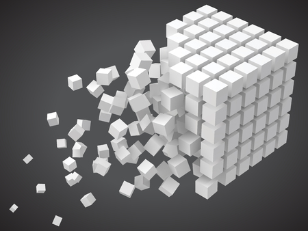 small cubes forming a big cube. blockchain and big data cncept. 3D style vector illustration.