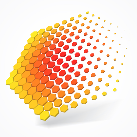 technolgy theme with hexagons. 3d style vector illustration. suitable for any banner, ad, technology and abstract themes. Illustration