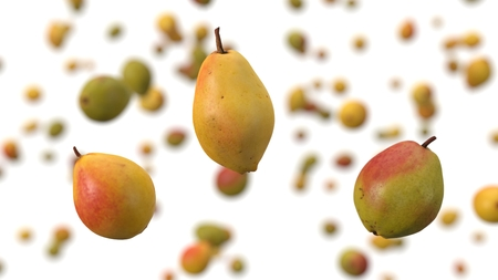 free falling pears on white background. realistic 3d illustration