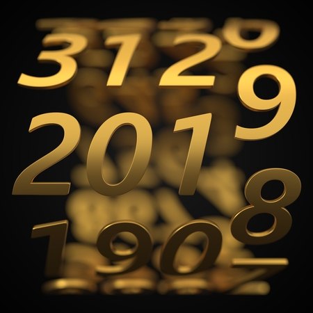 year counter concept with golden numbers. 3d illustration Stok Fotoğraf