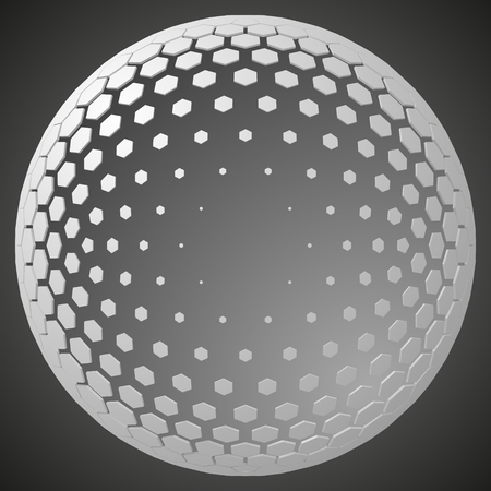 small hexagons forming a sphere. free area inside sphere for any object. 3d style vector illustration. suitable for any banner, ad, technology and abstract themes.
