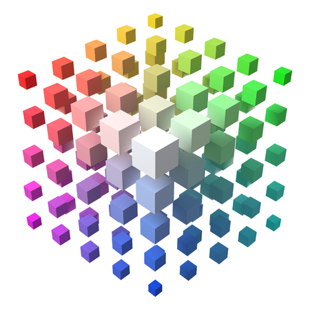 3d style vector cubic form made of with smaller cubes.