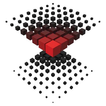 3d style formation from big to smaller cubes. Ilustração