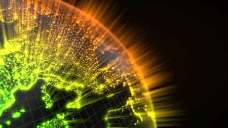 dark earth globe with glowing details and light rays. 3d illustration Stock Photo