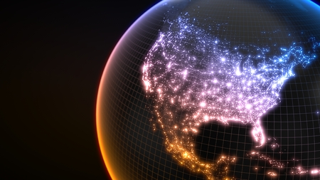 dark earth globe with glowing details of city and human population density areas. 3d illustration 스톡 콘텐츠
