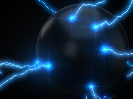 powerful lightning strikes on sphere and makes cracks on surface of sphere. 3d illustration