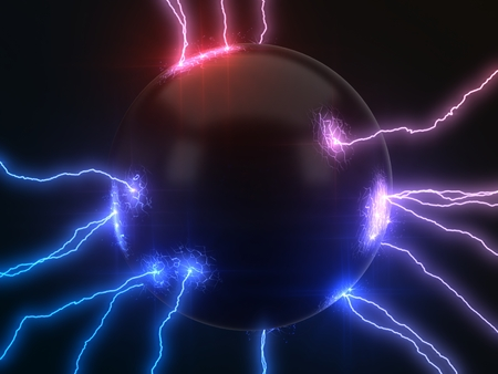 powerful lightning strikes on sphere and makes cracks on surface of sphere. dual color version, 3d illustration Banque d'images - 109099452
