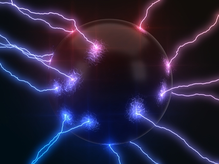 powerful lightning strikes on sphere and makes cracks on surface of sphere. dual color version, 3d illustration Stock Photo